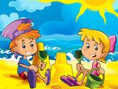 Karikatura hry na pláži