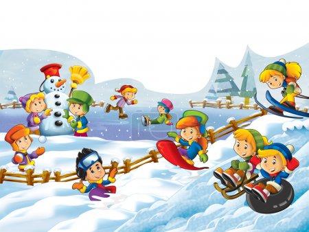 Photo pour L'illustration de lutte - faire un bonhomme de neige - neige de dessins animés pour les enfants - image libre de droit