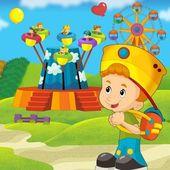 Ilustrace dítěte v parku kolotoč