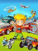 Malované chlapec s různými druhy dopravy - ilustrace pro děti