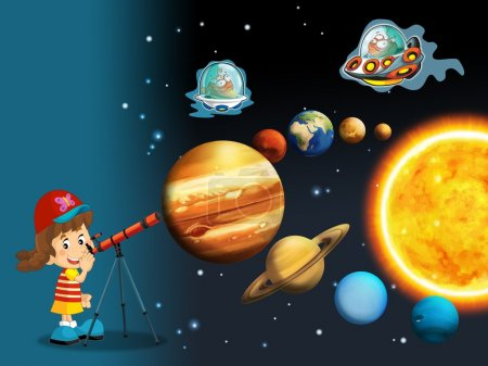 The cartoon - astrology - illustration for the children