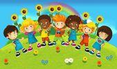 Kreslené - usmívající se tváře bannery - ilustrace pro děti