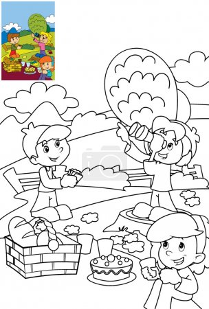Children in park Coloring page