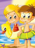 The pair of kids standing by the sea preparing themselves to swim - bright illustration for children