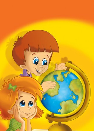 The pair of kids having fun - learning from the globe