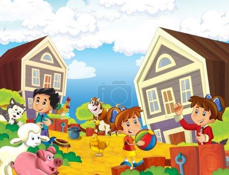 Kinder in Heimatnähe Illustration für Kinder