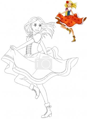 The coloring book with preview - Cartoon girl