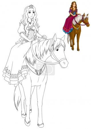 The coloring book with preview - Cartoon princess on horse