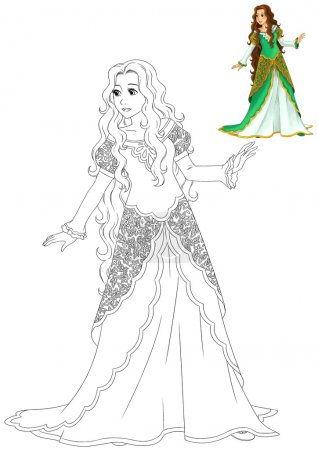 The coloring book with preview - Cartoon princess