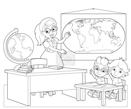 Photo pour La page à colorier - la classe - illustration pour les enfants - image libre de droit