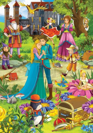Photo pour The fairy tales mush up - castles - knights and fairies - Beautiful Manga Girl - illustration for the children - image libre de droit