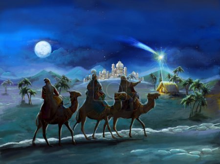 Photo for The illustration of the holy family and three kings - traditional scene - illustration for the children - Royalty Free Image