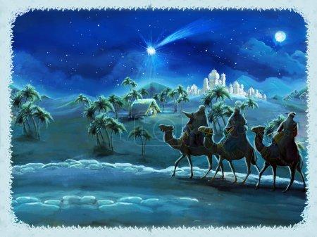 Photo pour L'illustration de la Sainte famille et les trois rois - scène traditionnelle - illustration pour les enfants - image libre de droit