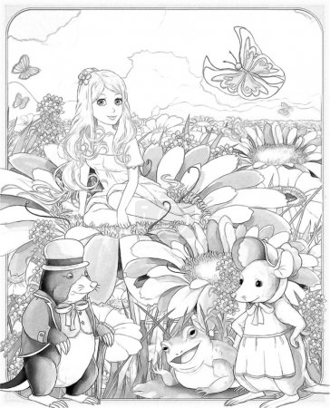 """The sketch coloring page with preview """"Thumbelina""""."""
