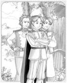 Skica zbarvení stránku s náhled - umělecký styl - ilustrace pro děti