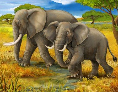Photo pour Safari - éléphants - illustration pour les enfants - image libre de droit
