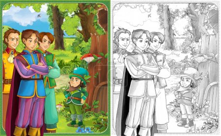 Sketch coloring page with preview - artistic style - illustration for the children