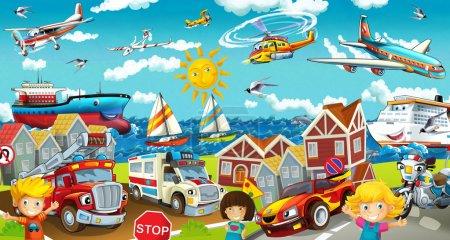 Cartoon transport on the street