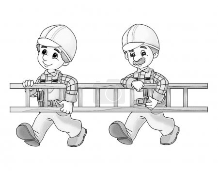Photo pour Illustration du travailleur de la construction pour les enfants - image libre de droit