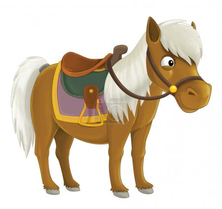 Photo pour Cheval de cow-boy de dessin animé - illustration pour les enfants - image libre de droit