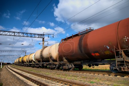 The train tanks with oil and fuel