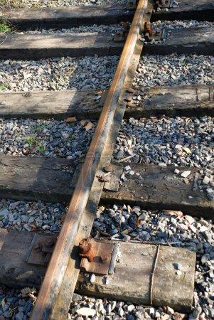 Photo pour Gros plan du chemin de fer historique obsolète dans la forêt - image libre de droit