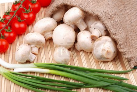 Photo pour Des légumes. Champignons, tomates et oignons sur un tapis . - image libre de droit