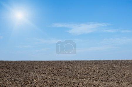 Foto de Fondo de cielo y tierra cultivable - Imagen libre de derechos