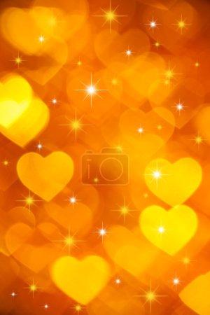 Golden hearts background