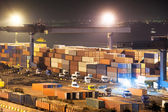 Containers in port at night