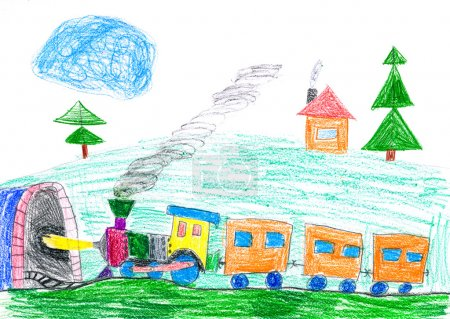 steam train goes to the subway. child's drawing.