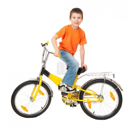 boy on bicycle isolated