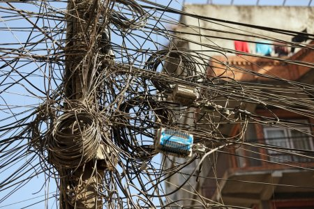 Photo for Very messy electric cables in asian city, kathmandu,nepal - Royalty Free Image