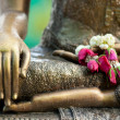 Golden buddha statue detail with flower offering and water drops
