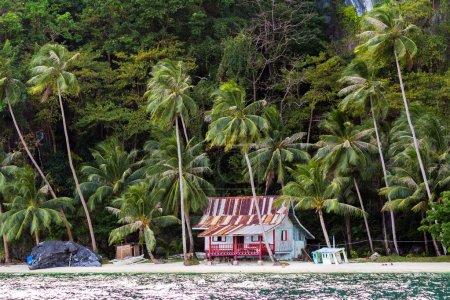 Hut on tropical beach