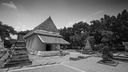 Black and white: Ancient Thai temple