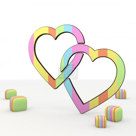 Photo for 3d graphic colourful symbol with childish two hearts icon - Royalty Free Image