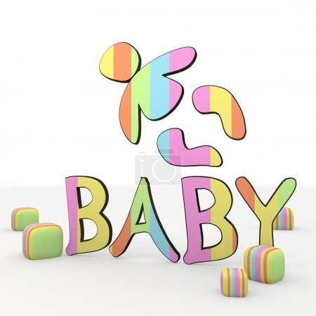 Photo for Colorful 3d graphic symbol with coltish baby icon - Royalty Free Image