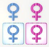 青色とピンク色のカラフルな女性 3 d アイコン ラベル
