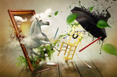 Magical world of painting, abstract image for banner, printed materials, background