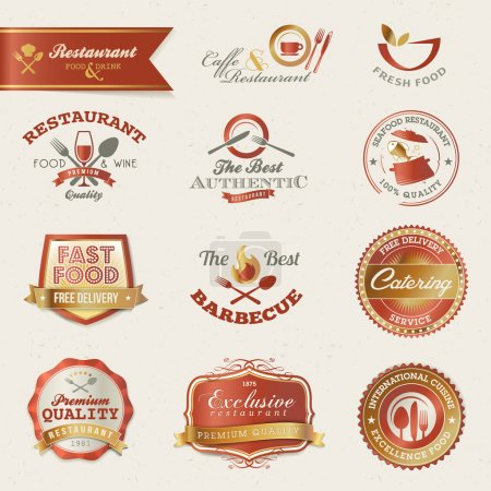 Photo for Set of vector labels and elements for restaurant - Royalty Free Image