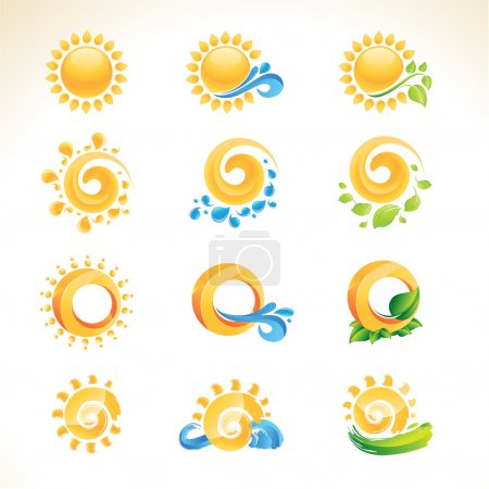 Illustration for Set of vector sun icons - Royalty Free Image