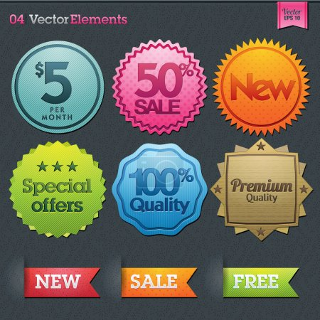 Illustration for Set of vector labels - Royalty Free Image