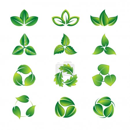 Illustration for Green leaves vector icon set - Royalty Free Image