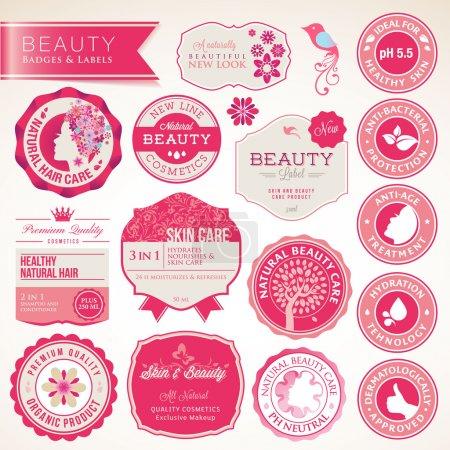Foto de Conjunto de vectores etiquetas y placas para los cosméticos, cuidados de la salud - Imagen libre de derechos