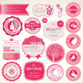 化妆品标签和徽章一套