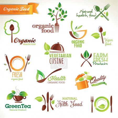 Illustration for Set of vector icons and elements for organic food - Royalty Free Image