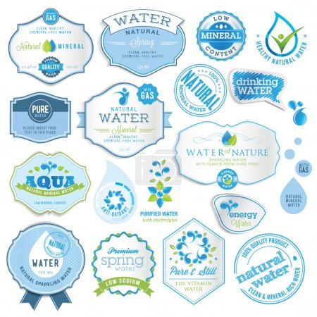 Photo for Set of vector labels and stickers for water - Royalty Free Image