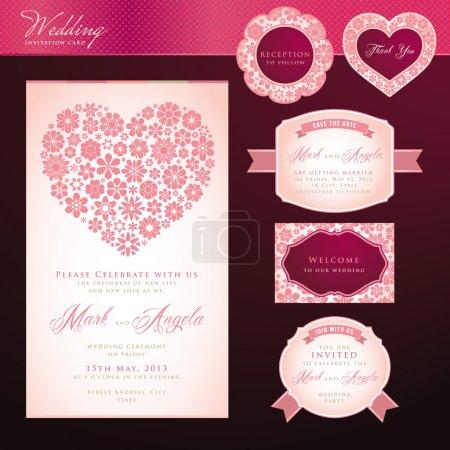 Foto de Conjunto de tarjeta de invitación de boda de vector y elementos - Imagen libre de derechos