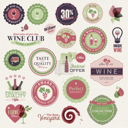 Illustration pour Ensemble d'étiquettes vectorielles et d'éléments pour le vin - image libre de droit